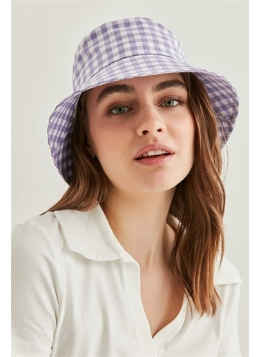 Vitrin VİTRİN Pötikare Desenli Şapka Lila